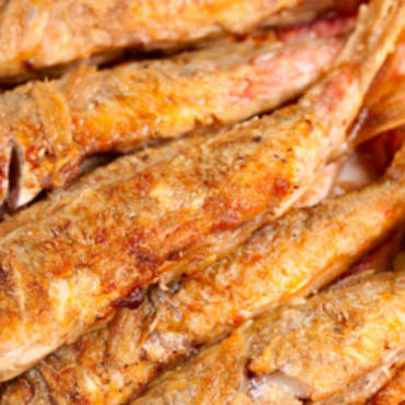 Fried blunt-snouted mullet or red striped mullet