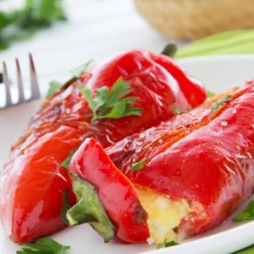 Grilled Roasted Red Pepper Stuffed With Cheese